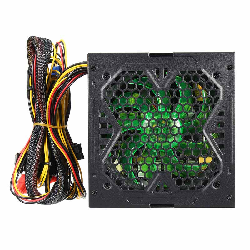 ATX Computer PC Power Supply For Gaming Green LED 600W 120mm Fan Quiet 20 24pin ATX