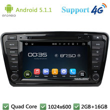 Quad Core 8″ 1024*600 Android 5.1.1 Car DVD Multimedia Player Radio Stereo 3G/4G WIFI DAB+ GPS Map For Skoda Octavia 2014 2015