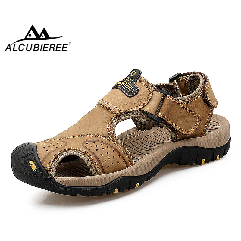 ALCUBIEREE Mens High Quality Slides Genuine Leather Men Sandals Shoes Slippers Summer Beach Shoes Fashion Men Big Size Shoes 47 summer casual men s shoes fashion leisure beach men shoes high quality leather sandals the big yards men s sandals big size38 48