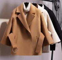 Women Short Woolen Coat Belt Jacket Woollen overcoat for women in autumn and winter