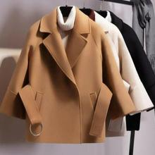 Women Short Woolen Coat Belt Jacket Woollen overcoat for wom