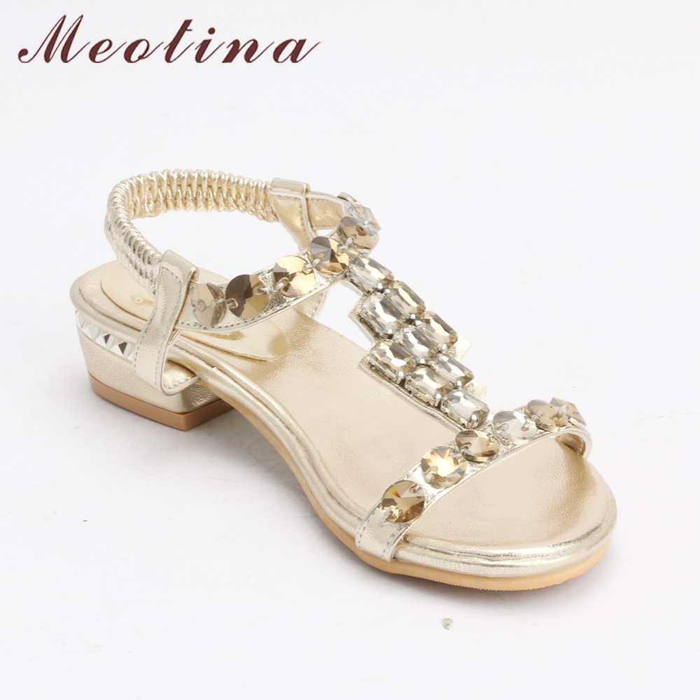 40e90aca3a Meotina Women Sandals Open Toe Mid Heels Rhinestone Sandals Shoes Women  Party Bridal Wedding Shoes Luxury Sandals God Size 34-43