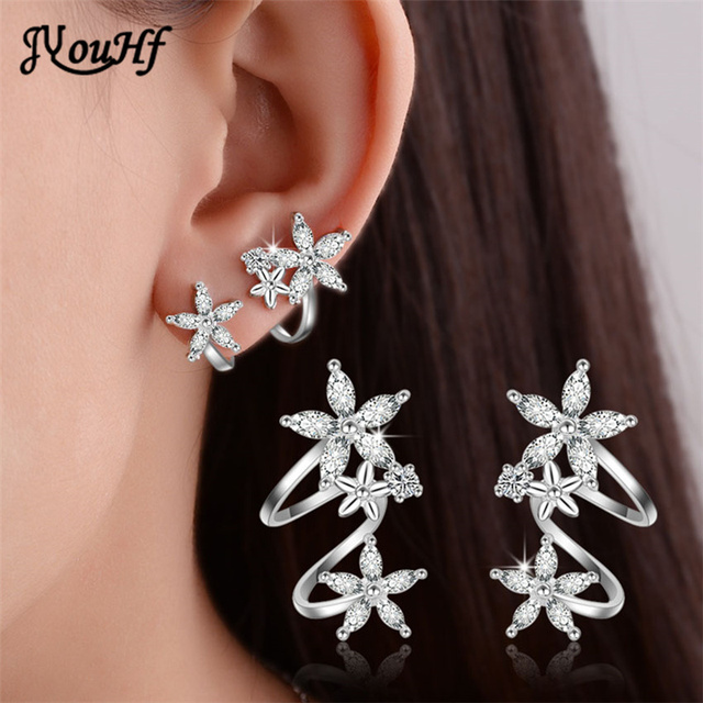 Jyouhf Exquisite White Rose Gold Color Flower Ear Clip Earrings With Piercing Cuff