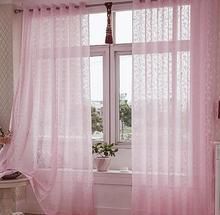 Jacquard de seda de flores cortadas pantallas de cortina de gasa cortina dormitorio balcón de la habitación ventana de gasa rosa terminados materiales de tela