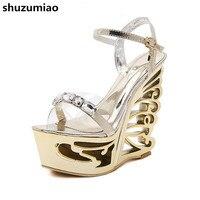 201 Brand New Rhinestone Sandals Women Strange Heel Silver Platform Shoes Women Sandals High Heels Wedge
