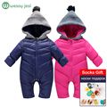 Newborn Baby winter clothes Baby snowsuit duck down Rompers windproof new born girl boy Warm winter rompers with fur Hooded