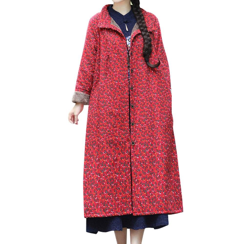 Wool Coat Women Winter Blends Jacket Button Flora Looae Cotton Linen Long Warm Winter Parka Lady Lapel Abrigo Mujer Chaqueta