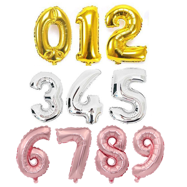 1 pc 16 32 40 polegada Figuras Número Da Folha de Ouro Rosa Balão Flutuar Ar Bolas Infláveis Decoração da Festa de Aniversário Do Miúdo balão de casamento