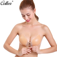 COLLEER Sexy Super Push Up Bra Silicone Bralette Lace Big D Cup Backless Strapless Bras Invisible