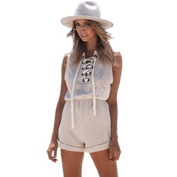 Womens vintage grey marled lace up rompers sleeveless short cotton casual jumpsuits playsuits womens jumpsuit.jpg 250x250