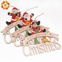 1pcs Colorful Creative Wooden Christmas Doorplate Pendants Decoration Wood Crafts Ornaments Party Home Decor Supplies