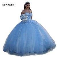 Милое платье ручной работы с цветами для девочек; 15 платьев; милое бальное платье из голубого тюля; Пышное Платье; vestido de debutante longo SQ03