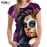 FORUDESIGNS Vintage Mort Jour Crâne Imprimer Femmes T-shirt Manches Courtes Marque Top Crop T-shirts Vêtements Remise En Forme O-cou T-shirt Feminina