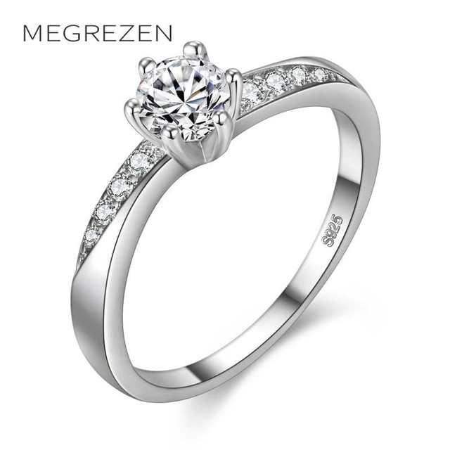 Megrezen Cute Wedding Rings Anillo Silver Jewelry Dropshipping Cubic Zirconia Ring With Stone For S