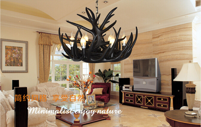 Free Shipping e14 led 58L*58W*38H cm Artistic Antler Featured Chandelier with 6 Lights Antique American retro rustic chandelier 58