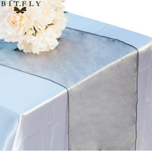 Free Shipping 25 Pieces silver 12x108 Organza Table Runner Wedding Party Supply Decoration Hot