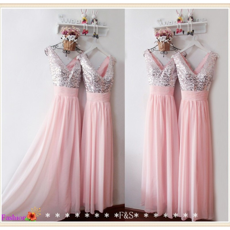 Bling lentejuelas pink gasa vestidos de dama de honor larga formal ...