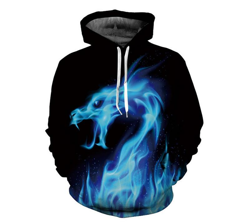 S-6XL Sweatshirts Men/women New Blue 3D Printed Fiery dragon Hoodies with hat Sweatshirt Pullover Streetwear Hooded Jacket Tops