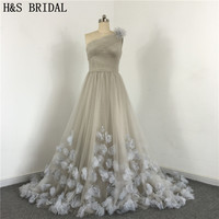 Free Shipping Ladies Popular Dress A Line One Shoulder 2016 Wedding Party Dress Flowers Appliques