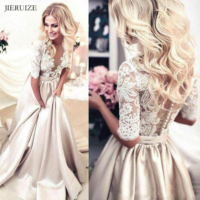 JIERUIZE Vintage Lace Appliques Champagne Wedding Dresses 2019 half Sleeves Sheer Buttons Bride Dresses Wedding Gowns