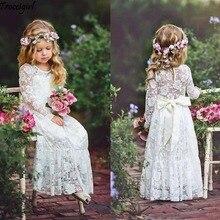 Кружевные платья цвета слоновой кости с цветочным узором для девочек на свадьбу, длинные рукава, длина до пола, бохо, Детские платья для свадьбы, дня рождения, платья с лентой