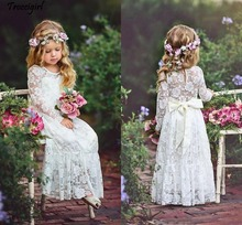 Ivory Lace Flower Girls Dresses For Weddings Long Sleeves Floor Length Boho Children Wedding Birthday Party With Ribbon