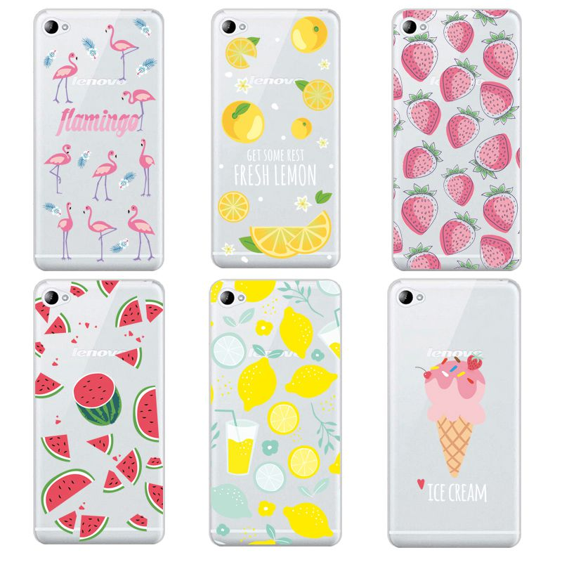Lemon Soft Clear TPU Phone Case For Lenovo S60 S90 A2010 A1000 A5000 A7000 K4 K5note Icecream Flamingo Shell Bags Free Shipping