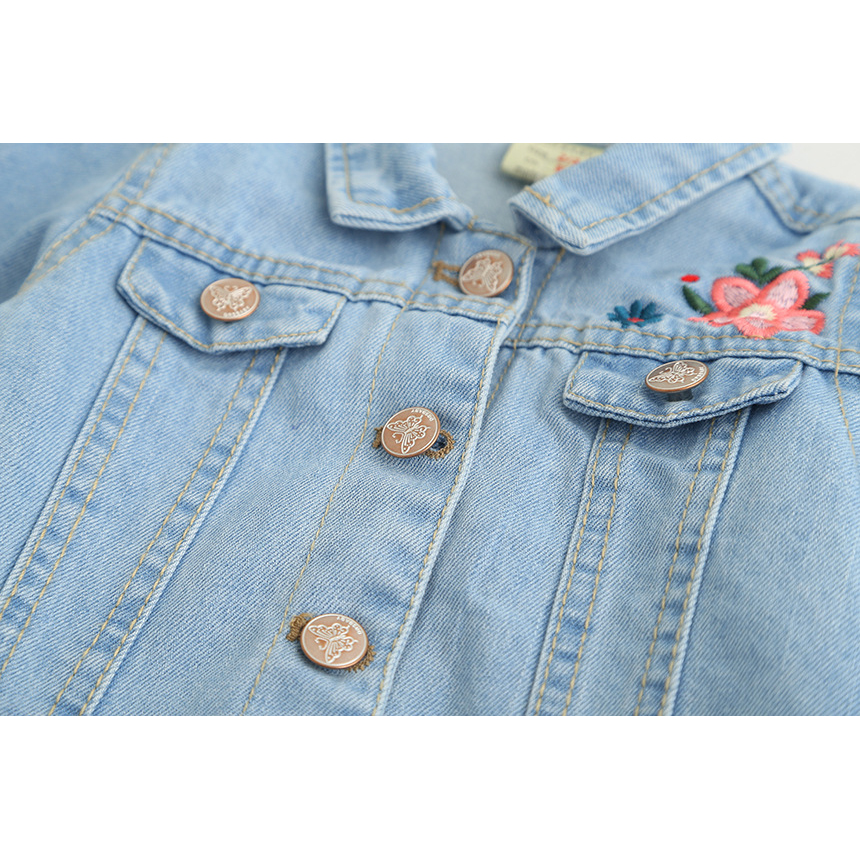 Little Girls Fashion Denim Jacket Girls Embroidery Jeans Coat Children Outerwear Jacket High Quality Kids Denim Coat