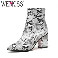 WETKISS Print Snake Pu Women Ankle Boots Zip Pointed Toe Footwear Thick High Heels Female Boot Party Shoes Women 2018 New Winter
