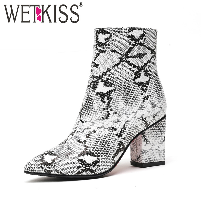 WETKISS Print Snake Pu Women Ankle Boots Zip Pointed Toe Footwear Thick High Heels Female Boot Shoes Women 2020 Snakeskin Bootie