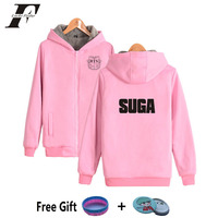 2017 BTS K Pop Pink Zipper Oversized Hoodies Sweatshirts Women Men Moleton Feminino Winter Thicker Bangtan