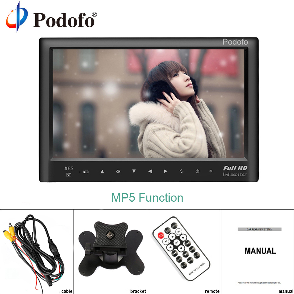 Podofo 7 LCD Monitor TFT Mini Color Monitor 2 Channel Video Input Security Monitor Display Screen Bluetooth MP5 With Speaker