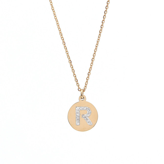 Online shop keamsty hot design stainless steel gold and silver keamsty hot design stainless steel gold and silver initial necklace disc charms letter r jewelry gifts with crystal 2pcslot mozeypictures Image collections