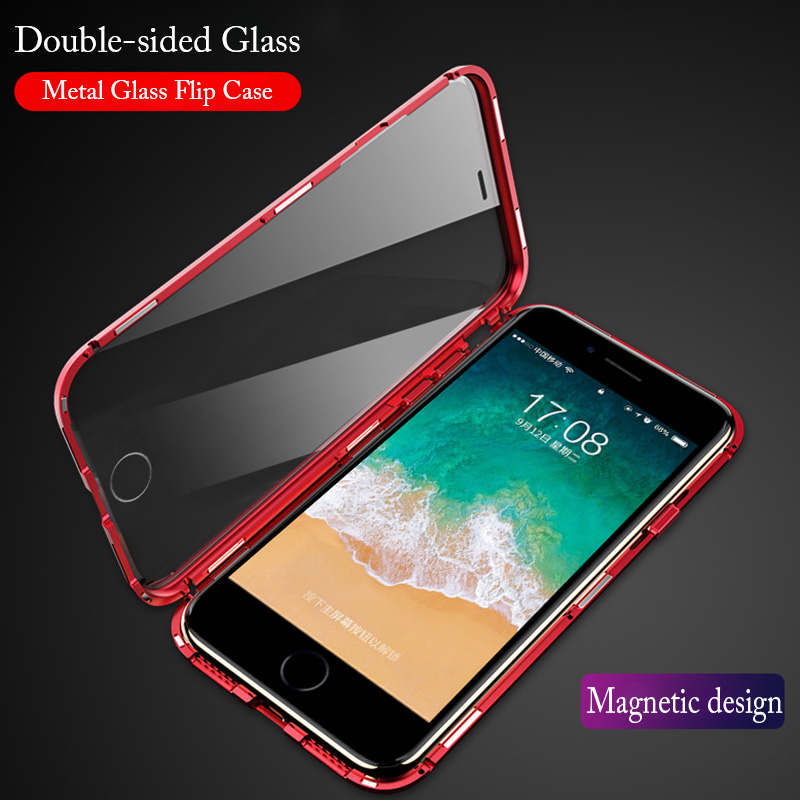 Front Back Glass magnetic Cover for iPhone 8 Plus 7 Case Transparent Luxury 360 Full Metal Flip Cover For iPhoneXS Max XR Magnet iphone xr case magnetic