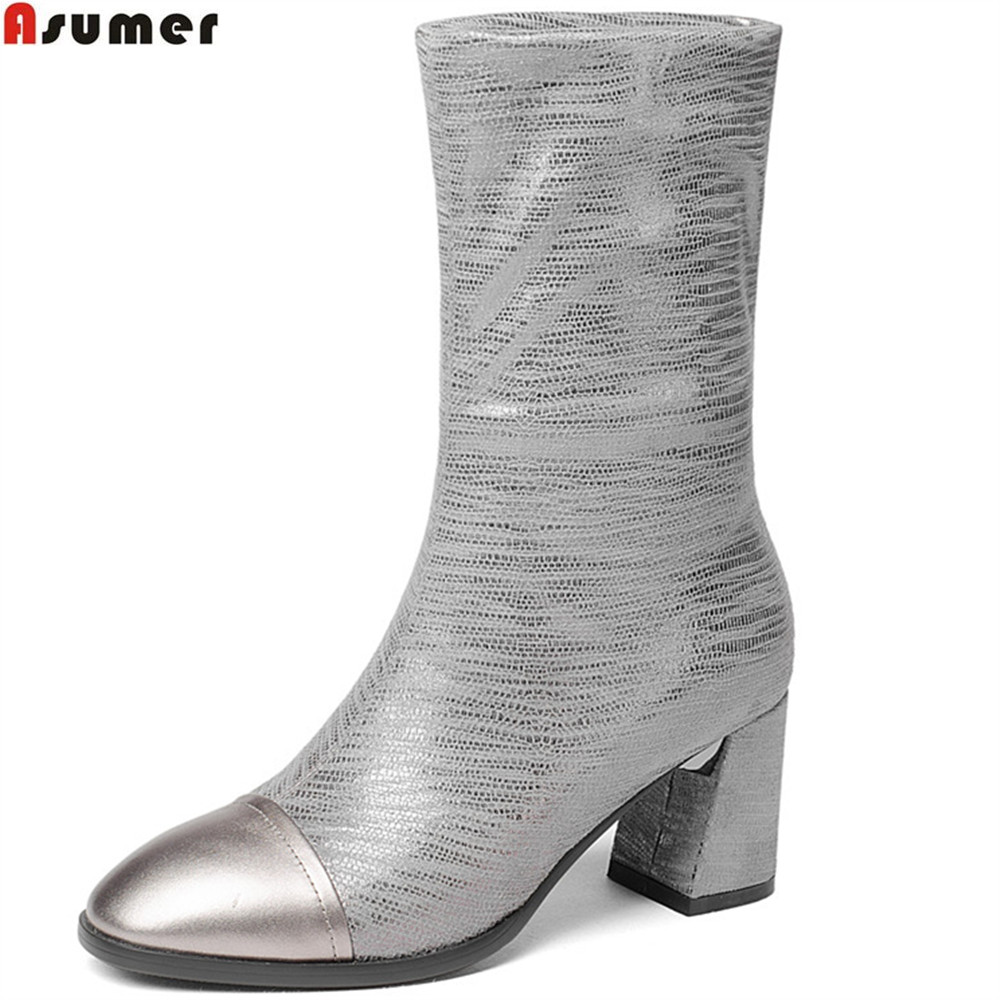 ASUMER 2018 autumn winter new arrive women boots square toe genuine leather ladies boots square heel black slivery