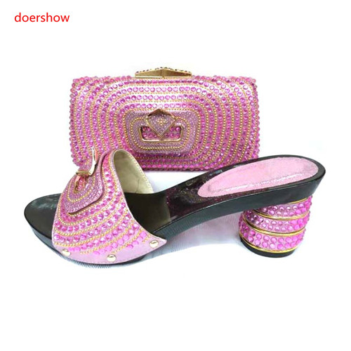 doershow Newest African Women Slipper Shoes And Matching Bag Set Italian Design High Heels Shoes And Bag Set For Wedding SJS1-9 стоимость