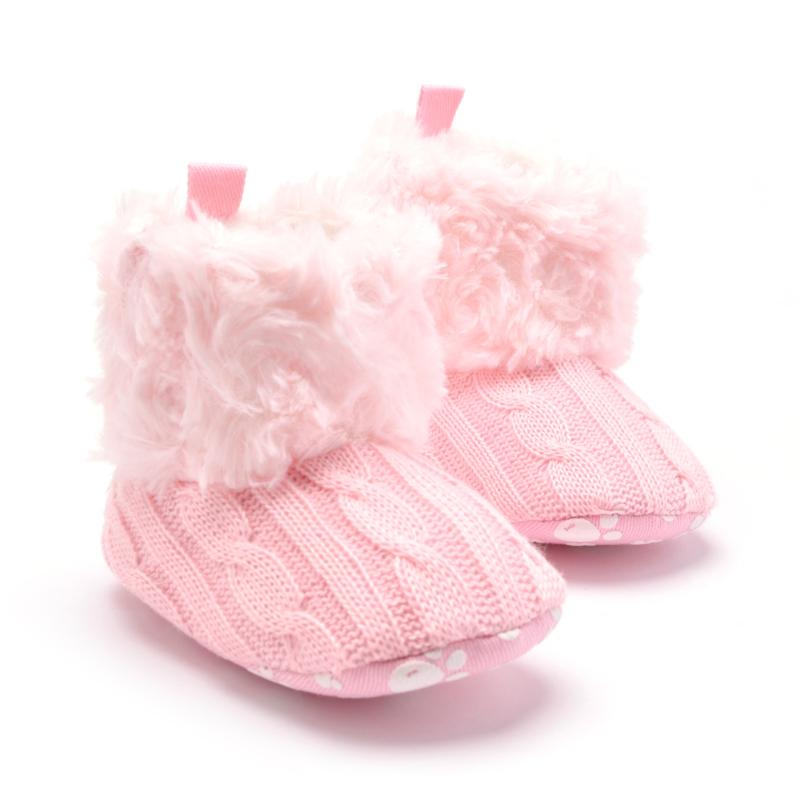 Newborn Baby Girls Winter First Walkers Crib Shoes Snow Bootshoes Infant Solid Bowknot Shoes Prewalker
