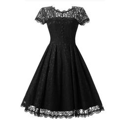 Hot Sale Womens Winter Lace Dress 2017 Vintage O Neck Slim Sexy Pin up Rockabilly Vestidos Party Black Lace Dresses Christmas 5