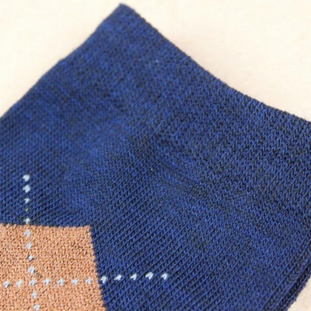 Random Color Winter Mens Warm Socks Male Comfortable Diamond Plaid Socks Durable Highly Absorbent Socks 1 Pair of Cotton Socks