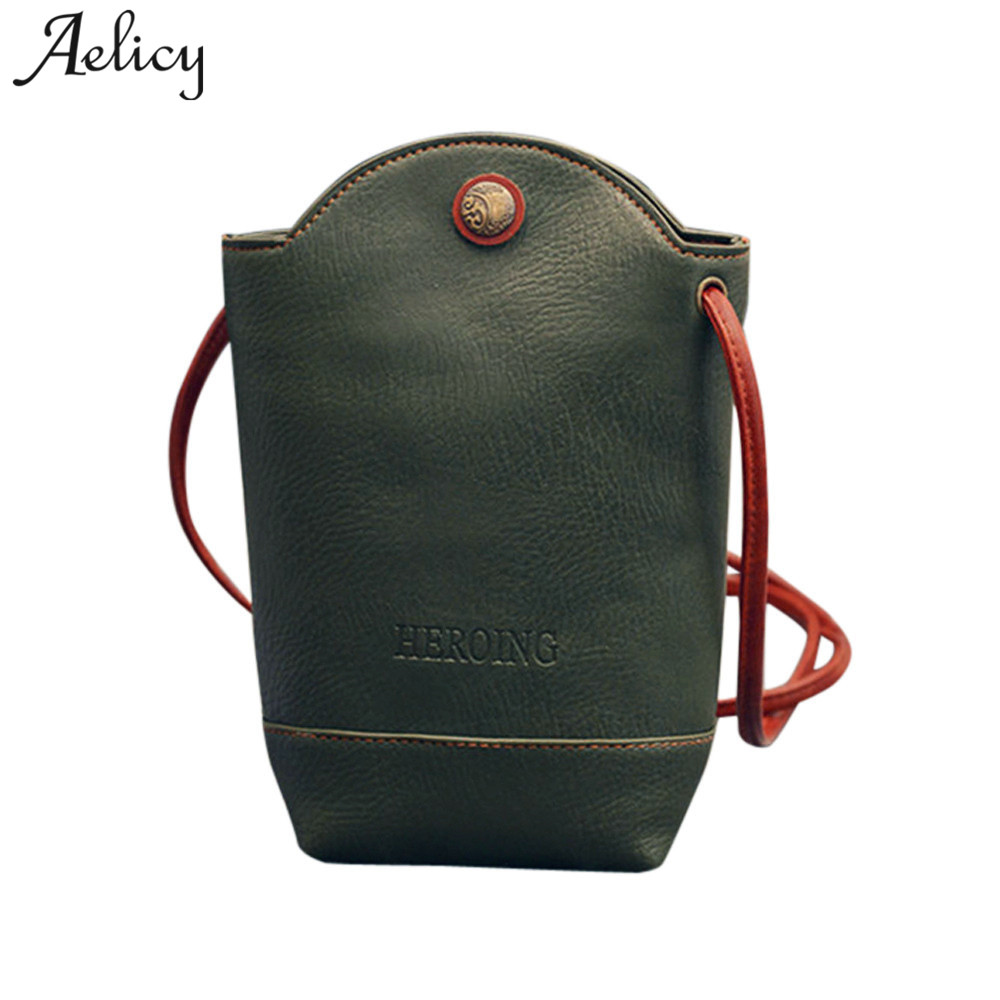 Aelicy Brand Women Messenger Bags Slim Crossbody Shoulder Bags PU Leather Bucket Bag Girl Ladies Handbag Small Body sac femme