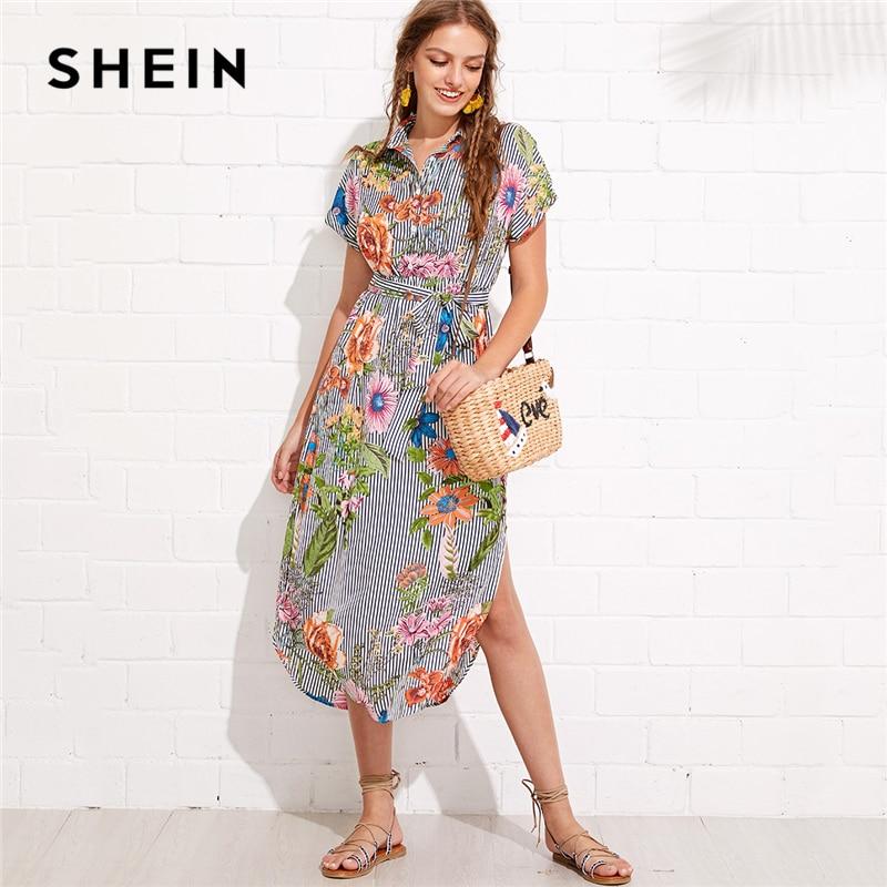 SHEIN Flower And Stripe Print Curved Hem Shirt Dress Summer Stand Collar Roll Up Sleeve Long Dress Women Vacation Dress batwing sleeve pocket side curved hem textured dress