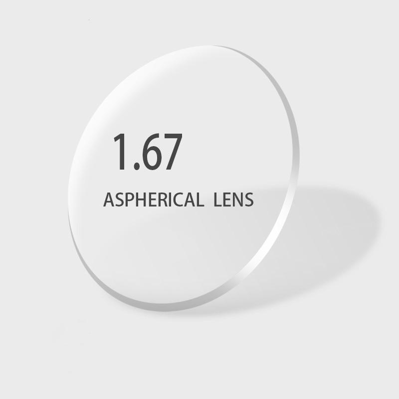 Lentilles de Prescription d'index 1.67 lentilles de verres asphériques de résine pour la myopie hyperopie lentille de lunettes de presbytie avec revêtement vert