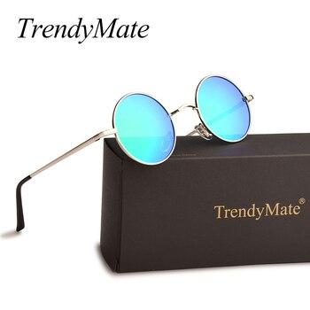 e1205adc97 Polarizadas gafas de sol redondas de las mujeres de los hombres de  conducción de Metal gafas de marca de diseñador clásico pequeño Vintage  Retro John Lennon ...
