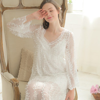 New Spring Princess Nightdress Royal Pyjamas Women's Long Nightgown White Lace Embroidery Sleepwear Victorian