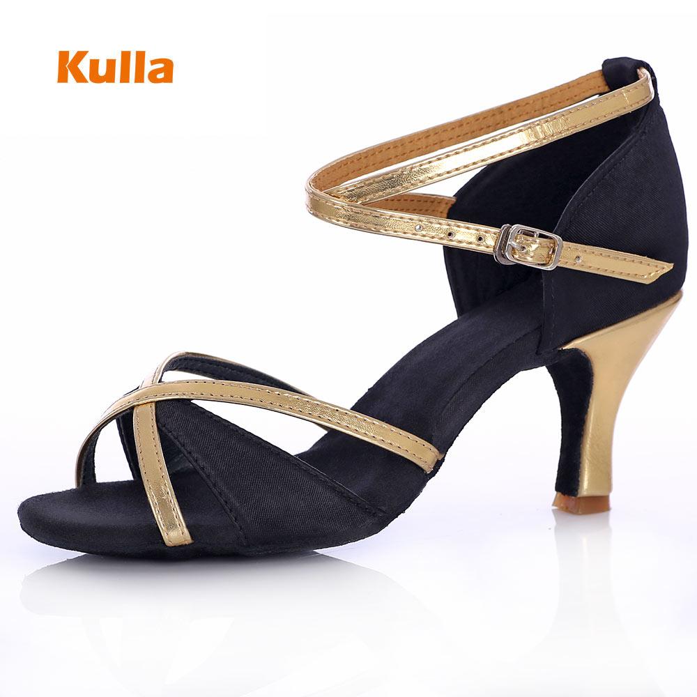 Adult Woman Ballroom Latin Dance Shoes Tango Salsa Dancing Shoes For Ladies Black High-heeled 5cm/7cm Soft Sole Girls Dance Shoe