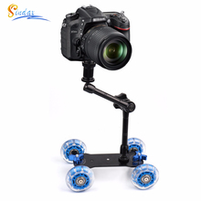 Schreibtisch Dolly+11 Magic Arm Tabletop Mobile Rolling Video Rail Skater for DSLR Camera Slider Track Dolly Car & Magic Arm
