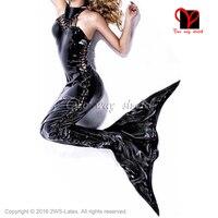 Сексуальный латекс хвост русалки костюм тела Резина Комбинезон завязки спереди комбинезон игра костюм bodycon XXL плюс LT 121