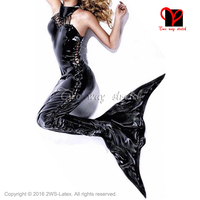 Sexy latex Mermaid Tail body suit rubber catsuit Lacing Front Jumpsuit play suit bodycon XXL plus LT 121