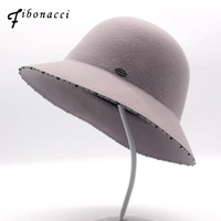 Fibonacci 2018 New Bucket Women Fedoras Handmade Rhinestone Metal Surround Brim Wool Felt Hat Dome Autumn Winter Hats