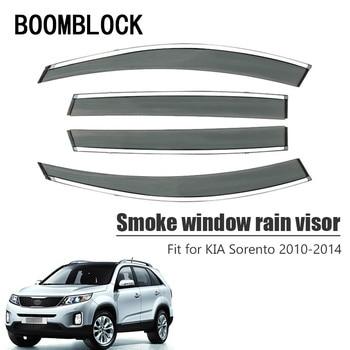 High Quality 4pcs Smoke Window Rain Visor For Kia Sorento 2014 2013 2012 2011 2010 Styling Vent Sun Deflectors Guard Accessories